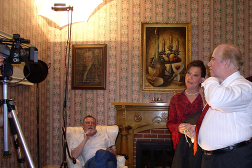 On the set:  the famous apartment scene was shot in the foyer of Olympia mayor Mark Foutch
